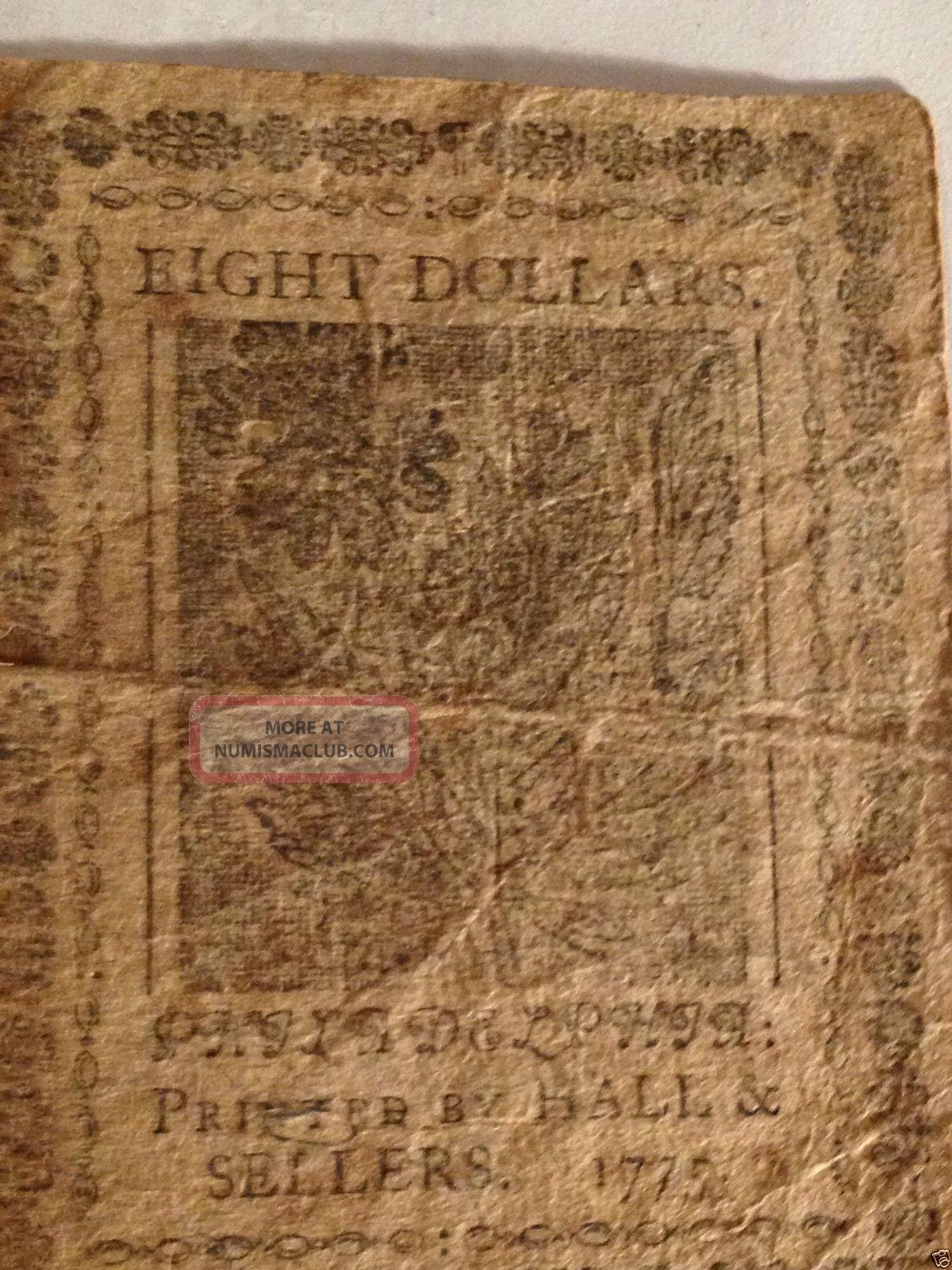 Pennsylvania 1775 Eight Dollar Paper Money Good Paper Money: US photo