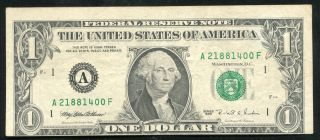 1995 $1 One Dollar Frn Federal Reserve Note