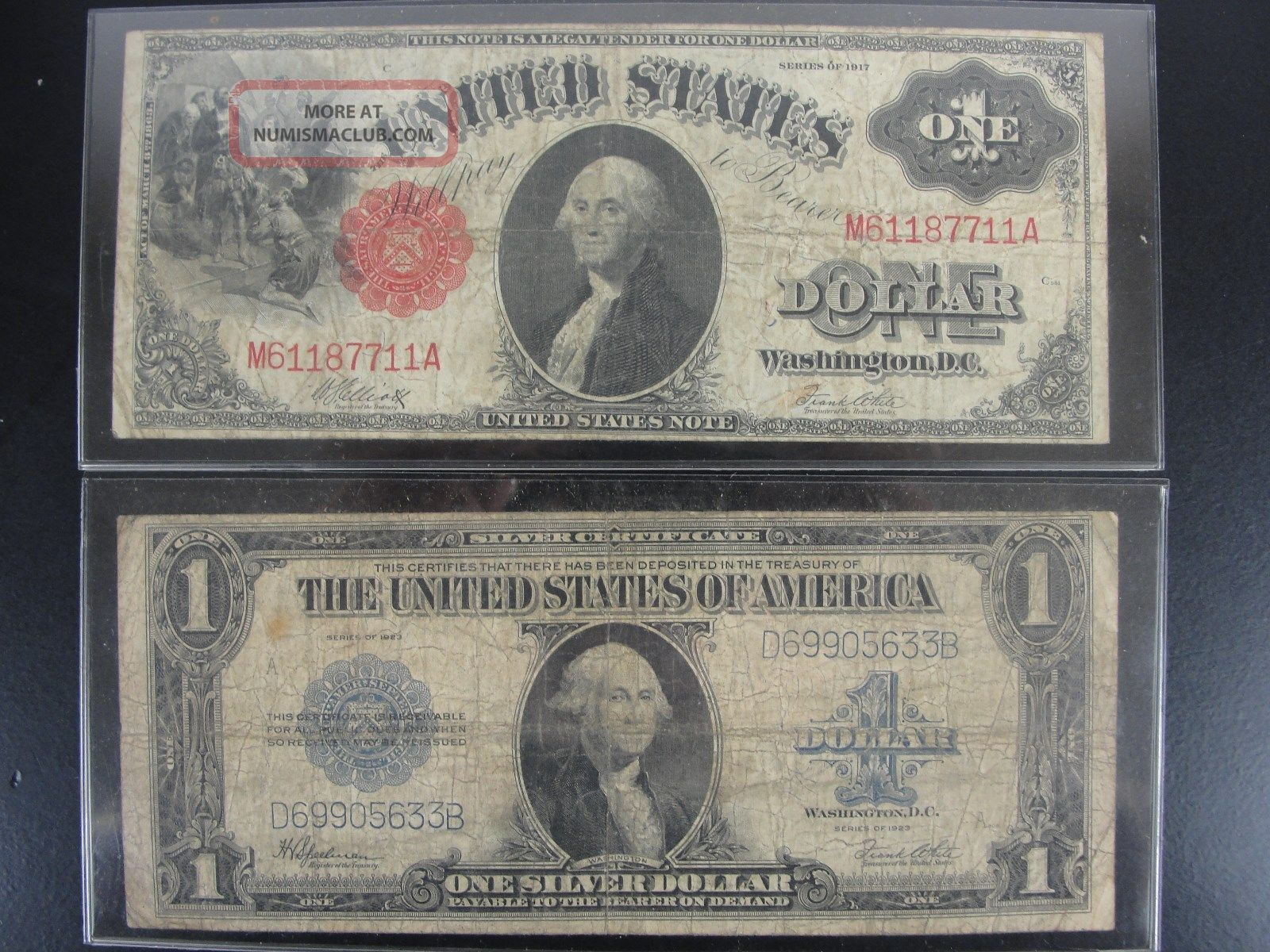 1917 One Dollar Us Red Seal 1923 1 Dollar Silver Certificate
