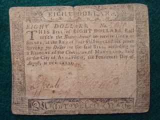 1776 $8 Dollar Colonial Currency - Very Rare - Annapolis,  Maryland - No Pinholes - Solid photo