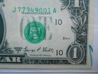 1969 $1 Frn.  Misaligned Over Print Error Pcgs  Very Choice photo