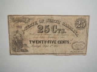 Civil War Confederate 1862 25 Cents Note Raleigh North Carolina Paper Money Vtg photo