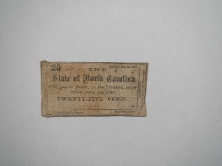 Civil War Confederate 1861 25 Cents Note Raleigh North Carolina Paper Money Vtg photo