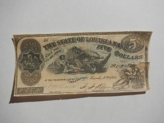 Civil War Confederate 1863 5 Dollar Bill South Strikes Down North Paper Money Cs photo