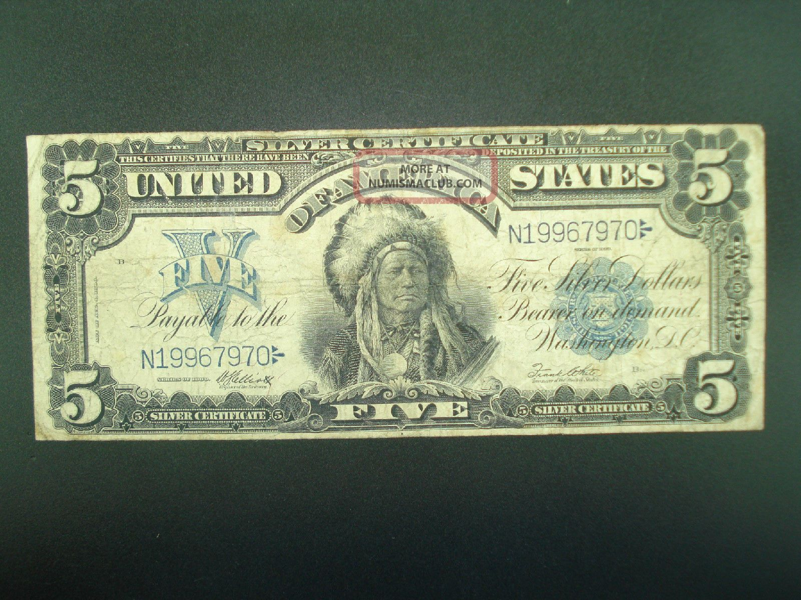 1899 5 Five Dollar Indian Chief Silver Certificate Large Note