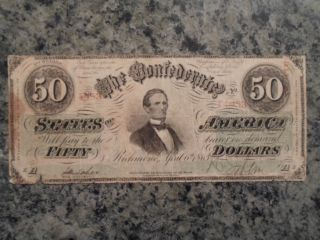 1863 Confederate $50 Note - 1st Series - April 6th 1863 - Circulated - July 63 Stamp photo