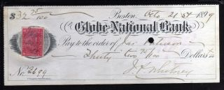 1899 The Globe National Bank - Boston,  Mass.  - C/w Revenue Stamp photo