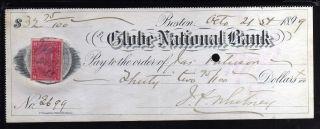 1899 The Globe National Bank - Boston,  Mass.  - C/w Revenue Stamp photo