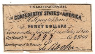 $40 Csa Interest Certificate From 1861 $1000 Bond Archer Signed Civil War Coupon photo