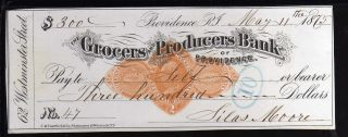 1875 - The Grocers And Producers Bank (black Check) - Providence,  R.  I. photo