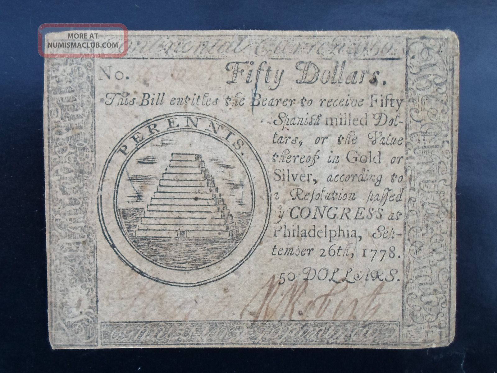 1778 $50 Continental Currency - Philadelphia/hall & Sellers - No Pinholes - Paper Money: US photo