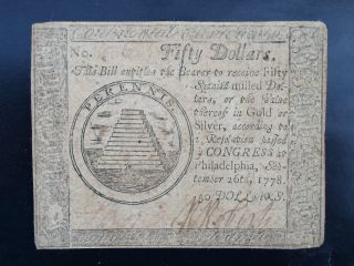 1778 $50 Continental Currency - Philadelphia/hall & Sellers - No Pinholes - photo