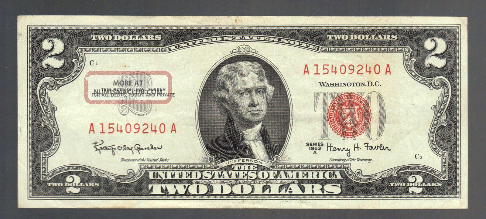 Crisp Us $2 Dollar 1963a Red Seal Old Legal Tender United