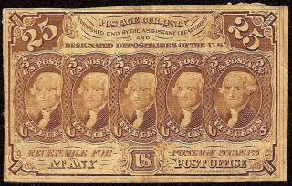25 Cent Fractional Note 1862 - 1863 Currency Civil War Era Paper Money Fr 1281 photo
