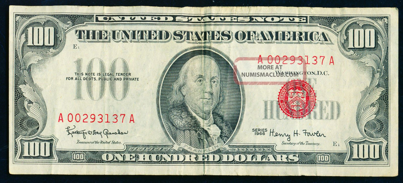 1966 $100 United States Note - Red Seal - Lightly Circulated Small Size Notes photo