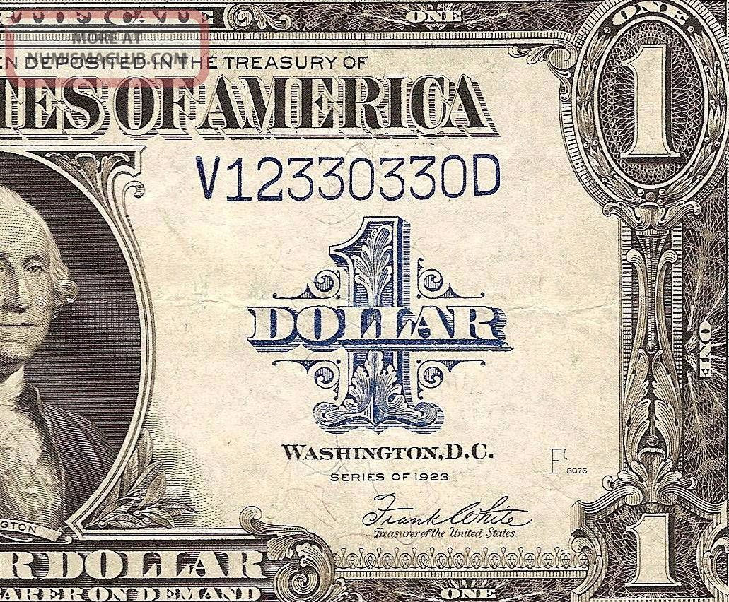 Large 1923 1 Dollar Bill Silver Certificate Note Crisp Currency Us
