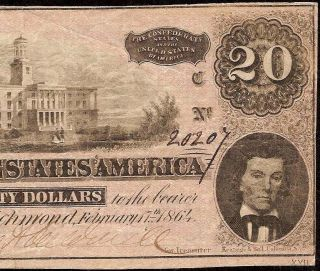 1864 $20 Dollar Bill Confederate States Currency Civil War Note Old Paper Money photo