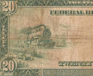 Large 1914 $20 Dollar Bill Federal Reserve Note U.  S Currency Paper Money Fr 983a photo