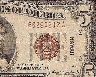 1934 A $5 Dollar Bill Hawaii Wwii Issue Federal Reserve Note Vf Currency Fr 2302 photo