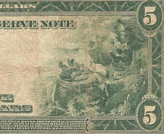 Large 1914 $5 Dollar Bill Federal Reserve Bank Note Currency Paper Money Fr 890 photo