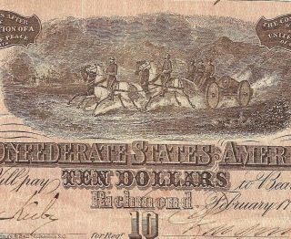 1864 $10 Dollar Bill Confederate States Currency Civil War Note Old Paper Money photo