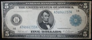 Fr - 846 1914 Boston Mass Large Size $5 Federal Reserve Note - Eye Appeal photo