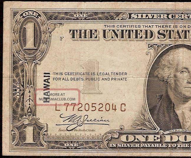 1935 A 1 Dollar Bill Wwii Hawaii Silver Certificate Old Paper Money