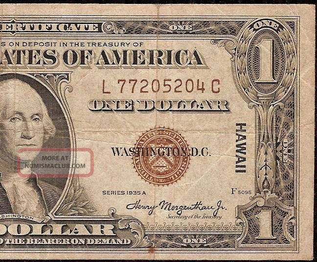 1935 A 1 Dollar Bill Wwii Hawaii Silver Certificate Old Paper Money