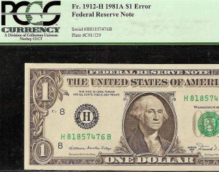 Gem 1981 A $1 Dollar Bill 129 Back Plate Error Fed Res Note Currency Pcgs 65 Ppq photo