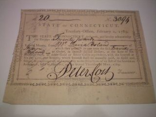 1789 Peter Colt Revolutionary War,  State Of Ct.  War Bond Guarantee Form photo