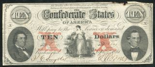 T - 26 1861 $10 Ten Dollars Csa Confederate States Of America Currency Note photo