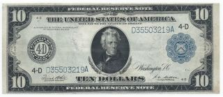 Rare 1914 $10 Ten Dollar Cleveland Federal Reserve Fr - 919 - A Awesome Embossing photo