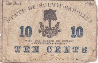 1863 Ten Cents State Of South Carolina Civil War Era Currency Circulated photo