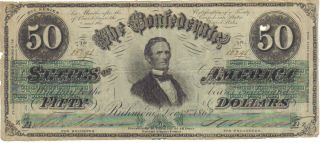 Confederate $50.  00 Richmond Note - Hand Signed - Dated December 2,  1862 - Authentic photo