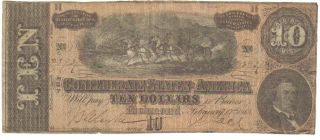 Confederate $10.  00 Richmond Note - Hand Signed - Dated February 17,  1864 Authentic photo