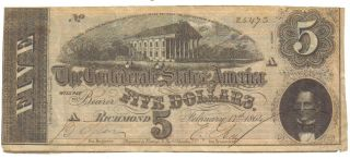 Confederate $5.  00 Richmond Note - Hand Signed - Dated February 17,  1864 Authentic photo
