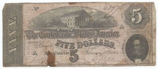 1864 $5 Confederate Large Size Civil War Note 7th Issue Series 4 T - 69 Awesome photo