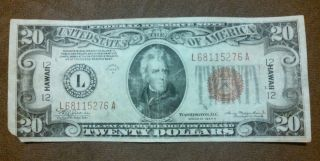 Save 1934 - A $20 Brown Seal Hawaii Note Ww - 2,  Old Paper Money,  Us Currency photo