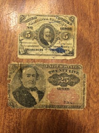 Civil War Era Fractional Currency.  Twenty Five Cents And 5 Cent. photo