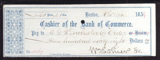 1859 Cashier Of The Bank Of Commerce - Boston,  Mass photo
