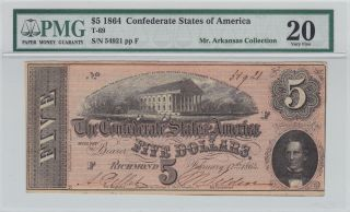 1864 $5 Dollars Confederate Currency Richmond - - Feb.  17,  1864 _ Pmg 20 photo