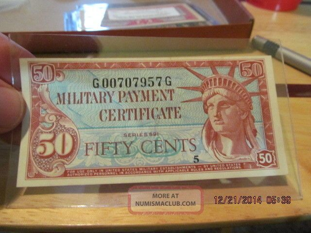 U.  S.  Military Payment Certificate Fifty Cents (50) Series 591 Mpc Unc Rare Paper Money: US photo