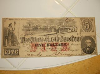 1866 $5 Confederate Currency The State Of North Carolina No.  4067 Raleigh photo