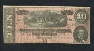 1864 $10 T - 68 Confederate Note 77648 photo