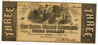 1863 Confederate State Of North Carolina $3 Dollar Note 39904 photo