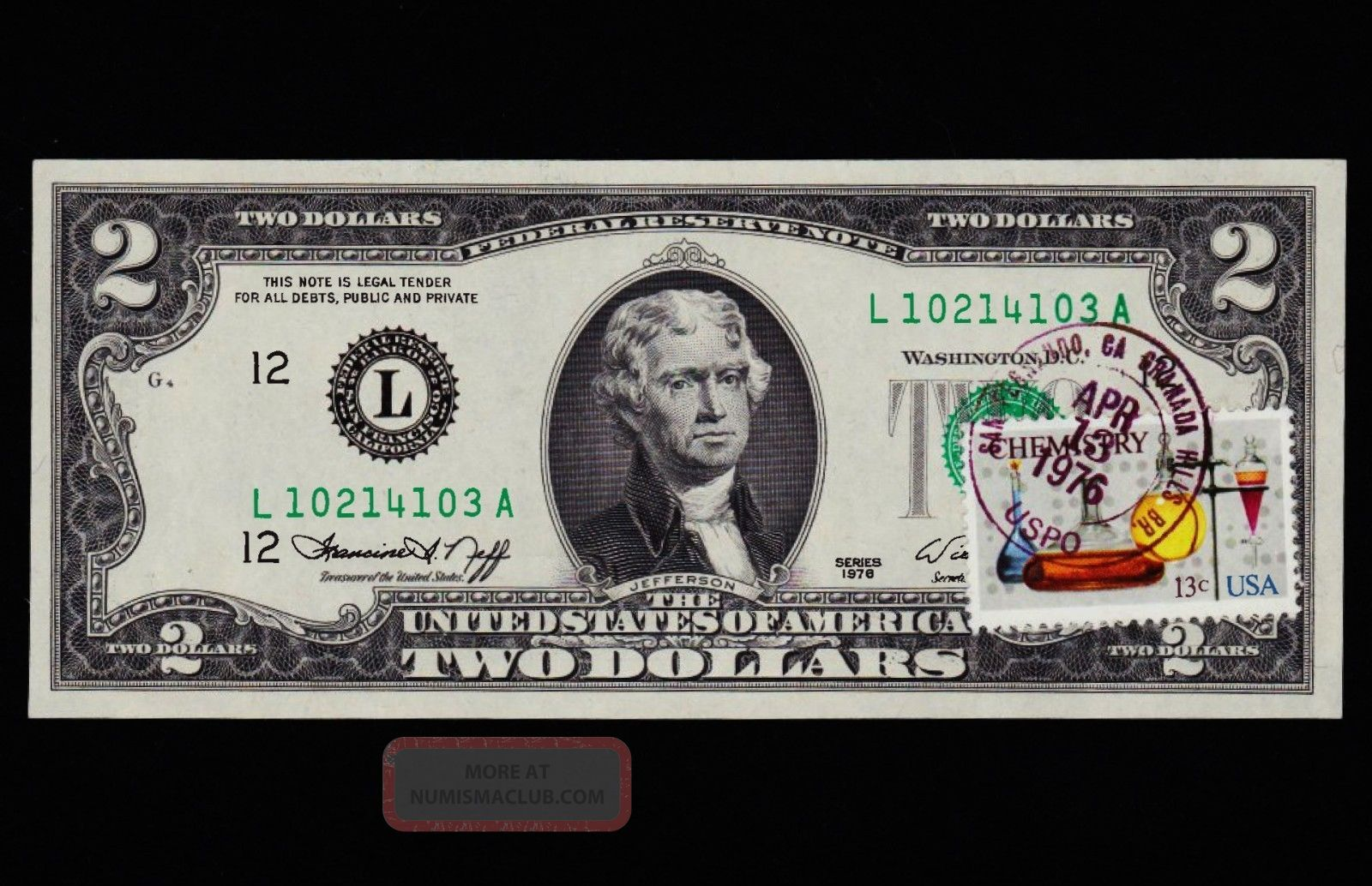 Unc 1976 2 Two Dollar Bill First Day Issue With Stamp And 1st Cancellation