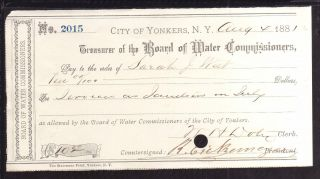 1881 Treasurer Of The Board Of Water Commissioners - City Of Yonkers,  N.  Y. photo