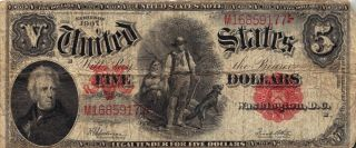 United States 1907 $5 Legal Tender Note Wood Chopper Red Seal photo