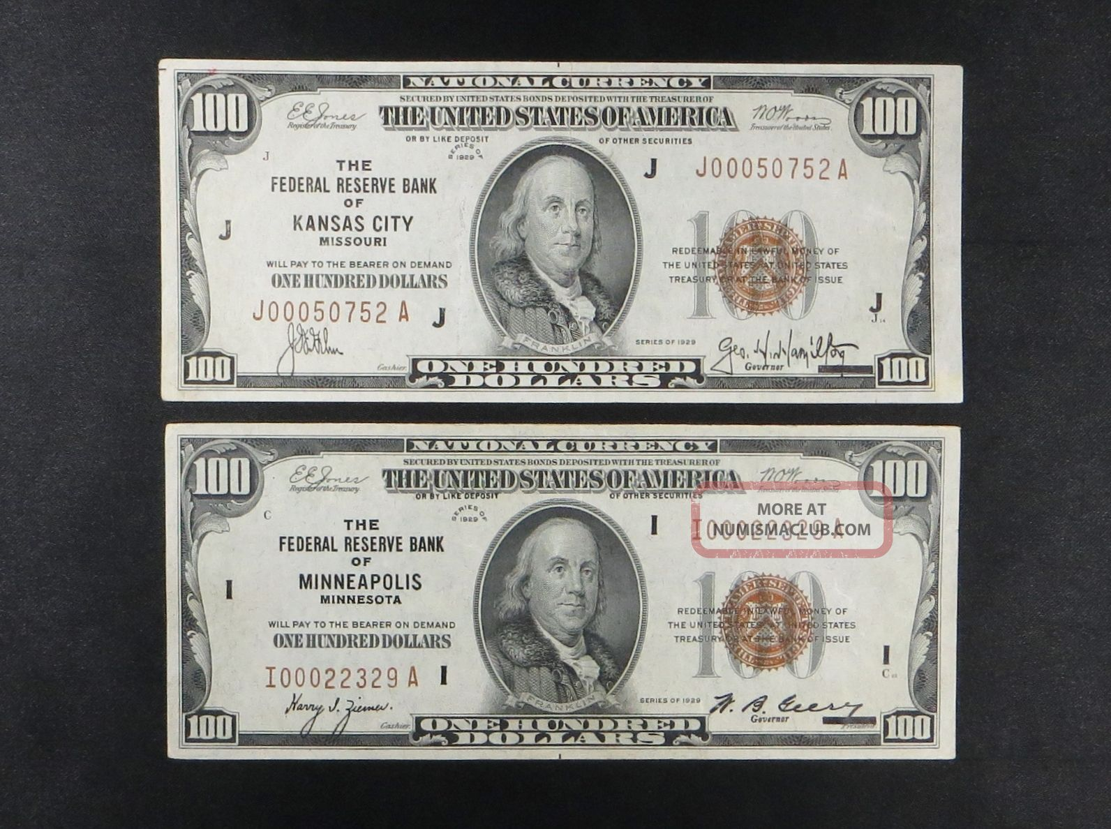 (2) $100 National Currency - - Kansas City & Minneapolis 1929 Paper Money: US photo