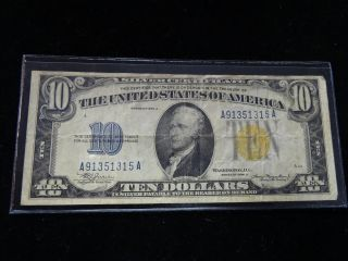 Vintage U.  S.  Currency 1934 A North Africa Silver Certificate $10 (shippng) photo